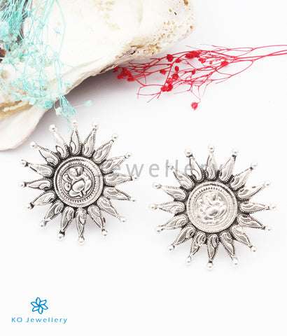 The Gaurish Silver Ganesha Ear-studs (Oxidised)