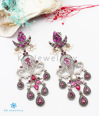The Ardha Chandra Silver Kempu Earrings
