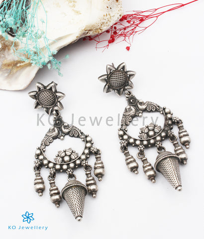 The Udvita Silver Peacock Earrings