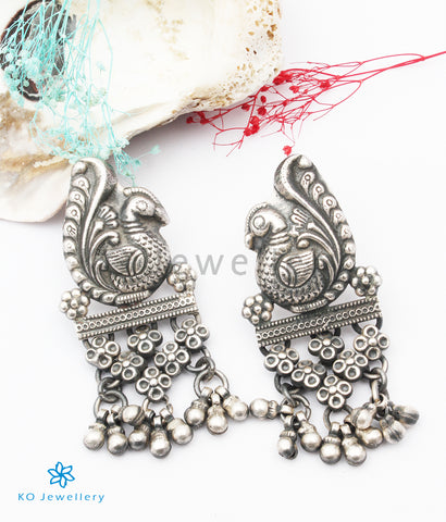 The Matsara Silver Peacock Earrings