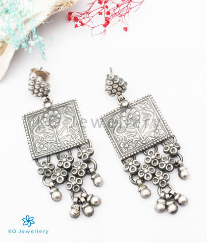 The Kajjara Silver Peacock Earrings