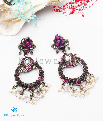 The Sahiti Silver Kempu Earrings