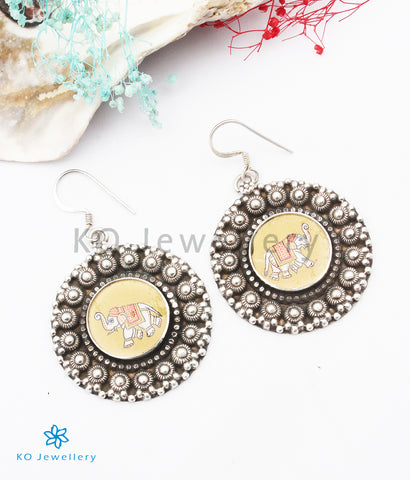 The Dvipa Silver Hand Painted Elephant Earrings