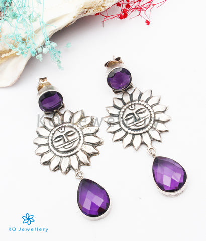 The Atapa Silver Amethyst Gemstone Earrings