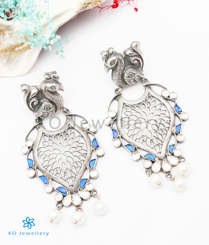 The Mahua Silver Peacock  Earrings
