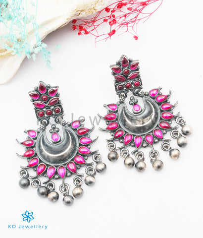 The Sarang Silver Kempu Earrings