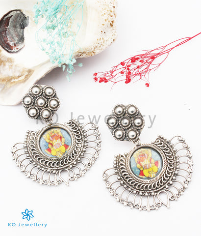 The Avighna Silver Hand Painted Ganesha Earrings