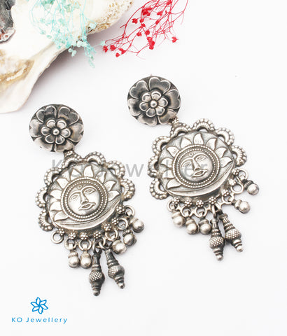 The Suryakanti Silver Earrings