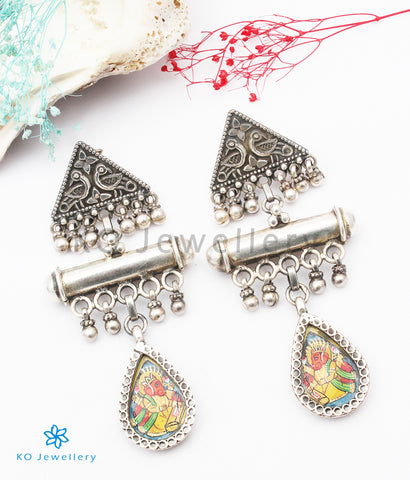 The Haridra Silver Hand painted Ganesha Earrings