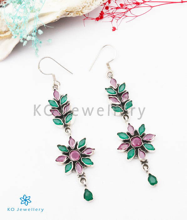 The Basant Silver Gemstone Earrings (Red/green)