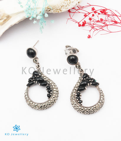 The Rosa Silver Marcasite Earrings (Black)