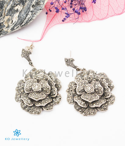 The Sparkling Rose Silver Marcasite Earrings