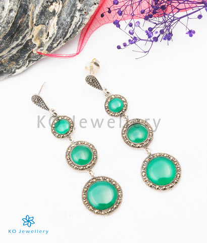 The Oriana Silver Marcasite Earrings (Green)