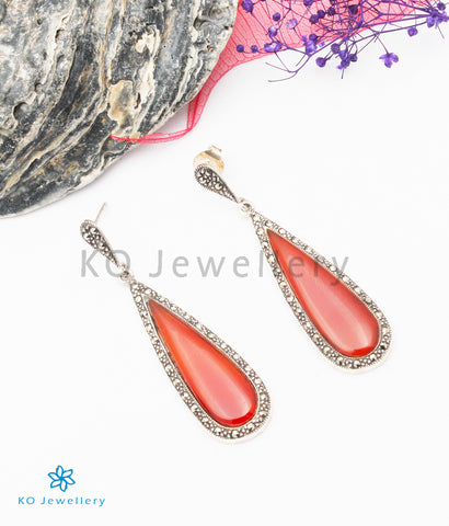 The Eve Silver Marcasite Earrings (Red)
