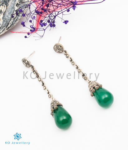 The Estella Silver Marcasite Earrings (Green)