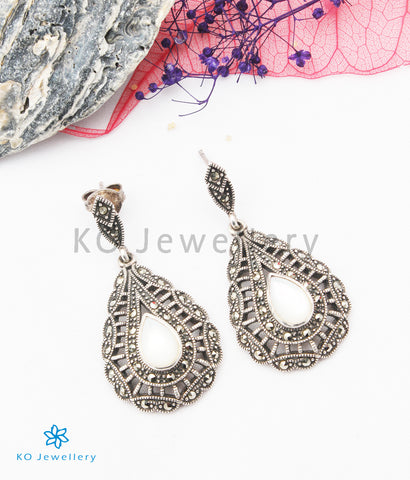 The Ziva Silver Marcasite Earrings (White)