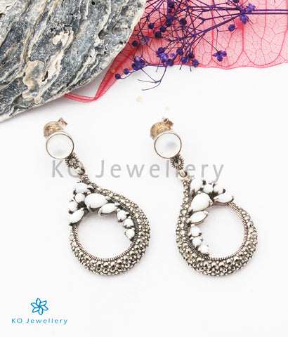 The Rosa Silver Marcasite Earrings (White)