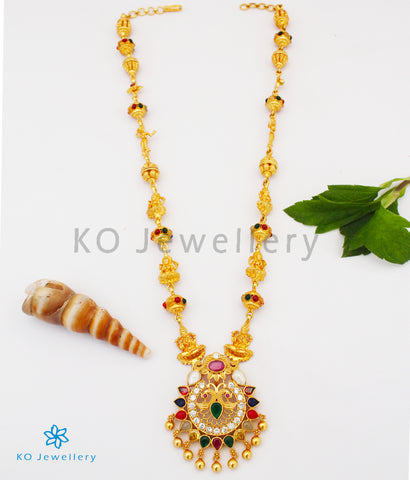 The Ishita Silver Navratna Peacock Necklace