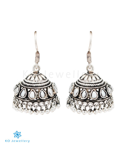 The Likhita Silver Pearl Jhumka (Oxidised)