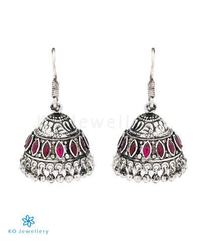The Mithil Silver Kempu Jhumka (Oxidised/Hook)