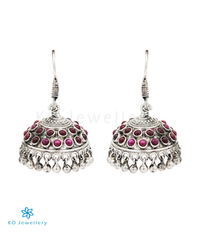 The Preksha Silver Kempu Jhumka (Oxidised/Hook)
