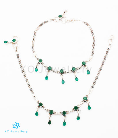 The Amukta Silver Gemstone Anklets (Green)