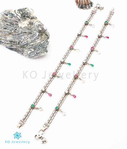 The Jiana Silver Gemstone Anklets