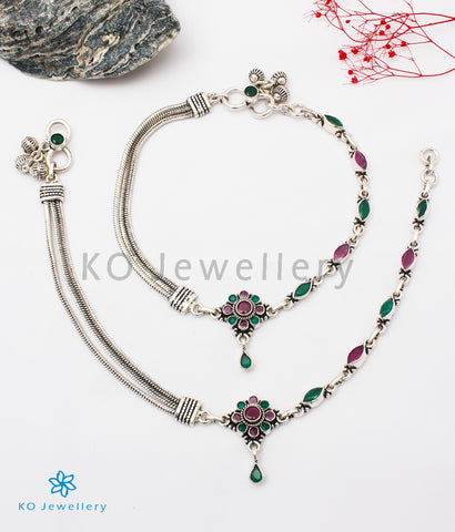 The Samstara Silver Gemstone Anklets