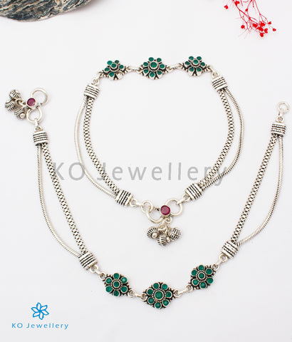 The Aadya Silver Gemstone Anklets