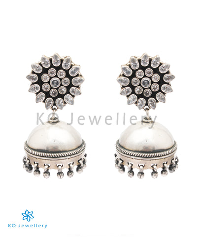 The Alaktha Silver Jhumka (White)