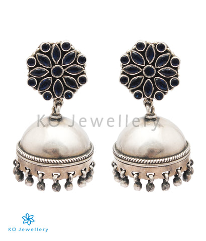 The Ojal Silver Jhumka (Blue)
