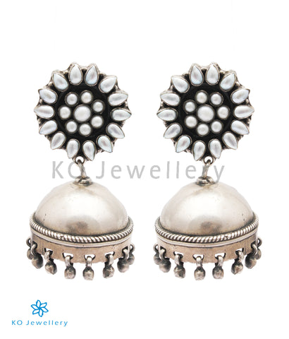 The Karanphool Silver Pearl Jhumka