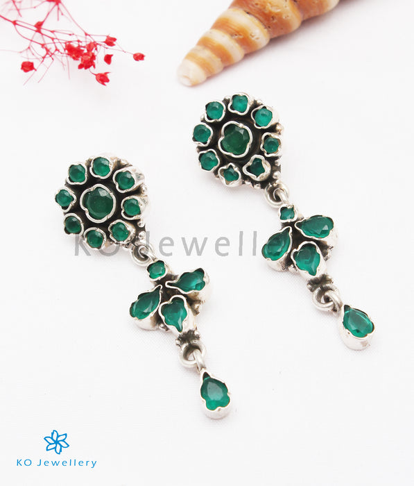 The Tarinika Silver Gemstone Earrings (Green)