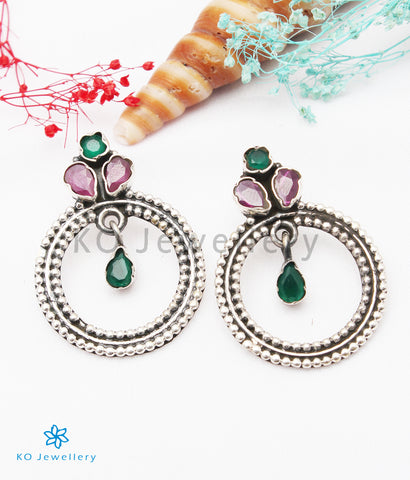 The Giva Silver Gemstone Earrings (Red/Green)