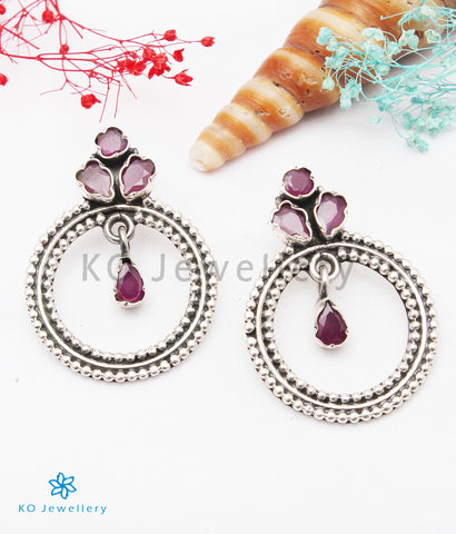 The Giva Silver Gemstone Earrings (Red)