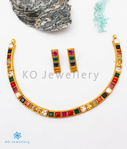 The Preksha Silver Navratna Necklace