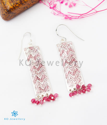 The Asmi Silver Meenakari Earrings (Pink)