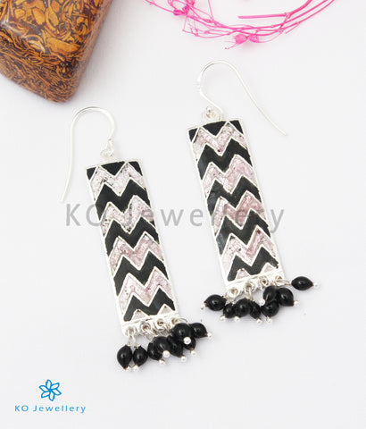 The Asmi Silver Meenakari Earrings (Black/Pink)