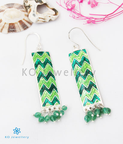 The Asmi Silver Meenakari Earrings (Green)