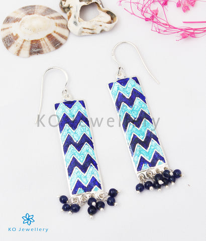 The Asmi Silver Meenakari Earrings (Blue)