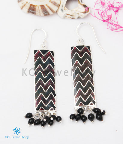 The Asmi Silver Meenakari Earrings (Black/Brown)