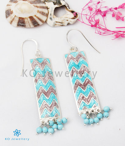 The Asmi Silver Meenakari Earrings (Blue/Pink)