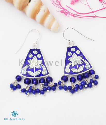 The Ruhiya Silver Meenakari Earrings (Azure)