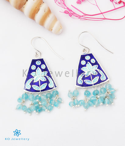 The Ruhiya Silver Meenakari Earrings (Blue)