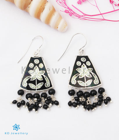 The Ruhiya Silver Meenakari Earrings (Black)