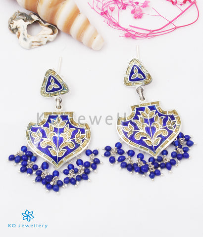 The Naz Silver Meenakari Earrings (Blue/Gold)