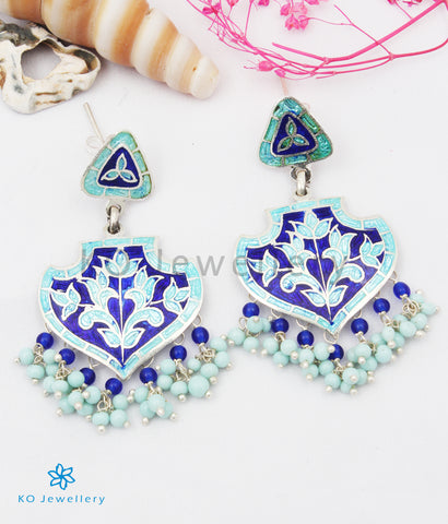 The Naz Silver Meenakari Earrings (Blue)