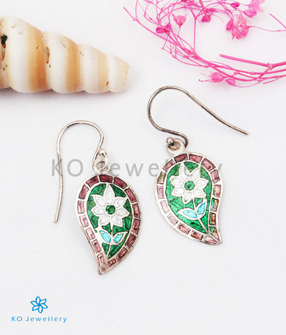 The Gul Silver Meenakari Earrings (Pink/Green)