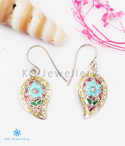 The Gul Silver Meenakari Earrings (Blue/Pink)