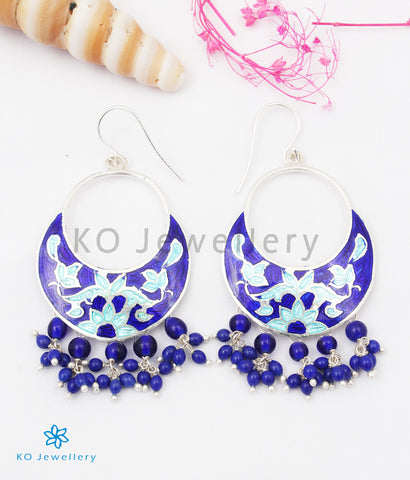 The Chand Silver Meenakari Earrings (Blue)